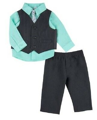 NEW Infant Boy George 4PC Suit Vest Set Aqua  NEWBORN Shirt, Pants, Vest & Tie