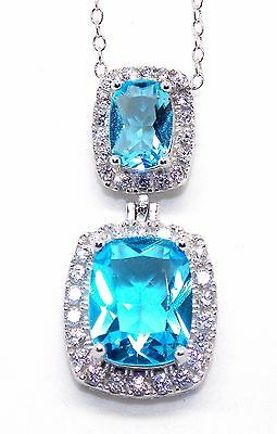 Sterling Silver Swiss Blue Topaz And Diamond 6.99ct Necklace (925)