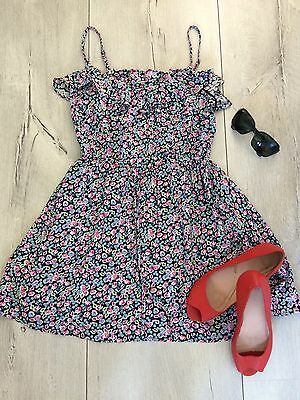 H&m Uk8 S Dress  Floral Summer Party Beach Holiday Short Mini