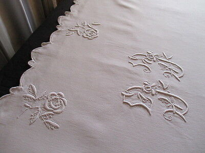 Fantastic Antique French Heavy Linen Trousseau Sheet, Scalloped hem, Monogram