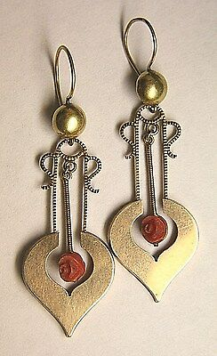 Antique Victorian 14K Gold & Carved Salmon Coral Dangle Earrings