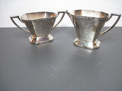 Vintage Colonial Silver Co. Silverplate Creamer & Sugar Set #1644