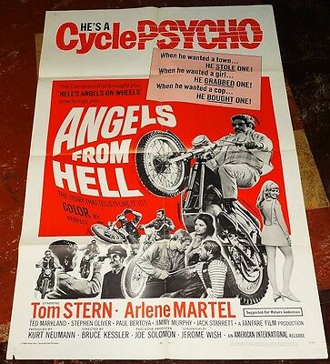 "ANGELS FROM HELL orig 1968 1sheet poster Tom STERN Arlene MARTEL 27""x 41"""
