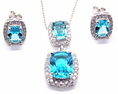 Sterling Silver Swiss Blue Topaz And Diamond 11.75ct Necklace Set (925)
