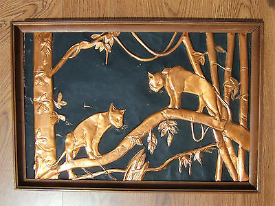 """VINTAGE MID CENTURY Copper Relief Wall Art Jungle Cats ~13"""" x 19"""" Wood Frame"""