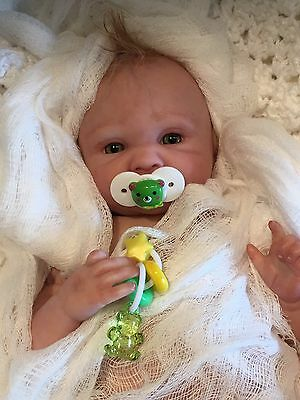 "GREEN Doll PACIFIER & ToY~Fits Most 9-12"" Micro Preemie Reborns~Berenguer~HMD"