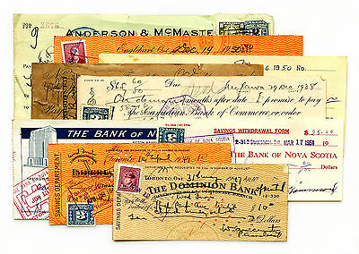 9 diff. Canada bank checks 1900's used