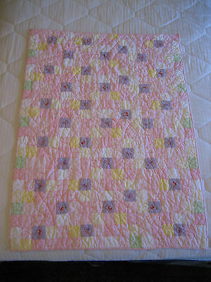 POTTERY BARN KIDS Crib Quilt - Pink, Yellow, Purple with Machine Embroidery