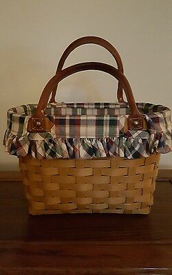*Longaberger 2003 Medium Boardwalk Leather Handle Tote Purse Basket W Liner!*