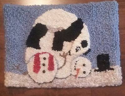 "Rug Hooking Pattern PANDA AND SNOWMAN on  Red Dot Fabric 17"" x 12.5"""
