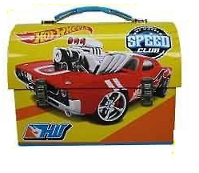 """Hot Wheels Dome Carry All Tin Stationery Lunch Box - """"Speed Club"""""""