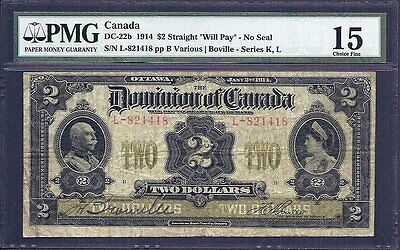 1914 $2.00 DC-22b PMG F 15 ** RARE F-VF Dominion of Canada KEY Early Two Dollars