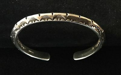 Navajo Gene Natan Sterling Stamped Carinated Old Pawn Style Cuff