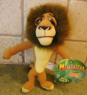 "8"" MADAGASCAR Movie Character PLUSH ALEX LION w/TAG Dreamworks Hasbro Stuffed"