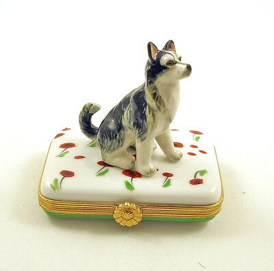 New French Limoges Trinket Box Alaskan Malamute Husky Dog Puppy On Poppy Flowers