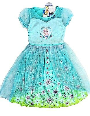 Disney 6 Elsa Nightgown New Girls Frozen Sparkly Short Sleeve Pajamas Costume