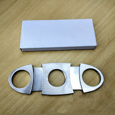 Durable Silver Stainless Steel Pocket Cigar Cutter Knife Scissors Double Blades