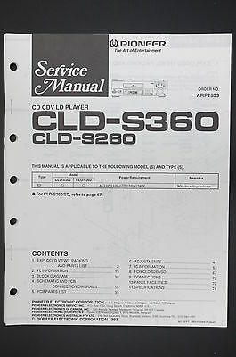 Pioneer cld-s360/cld-s260 Original Service Manual Guide/WIRING DIAGRAM! O12