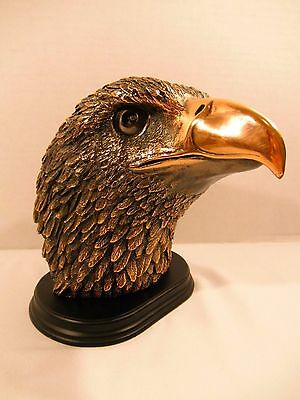 "Large Bald Eagle Head Statue - Mounted on Wood 8.5"" x 6.5"""