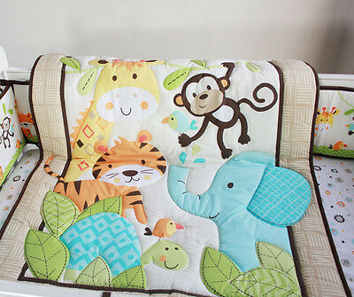 Baby Bedding Crib Cot Quilt Set- 8pcs Quilt Bumper Sheet Dust Ruffle P/C
