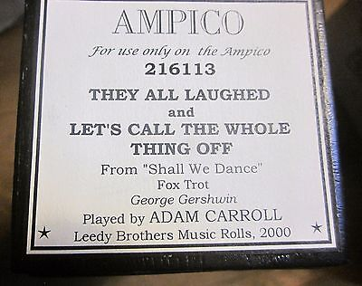 "AMPICO Gershwin - Selections From ""Shall We Dance""  #216113 Player Piano Roll"