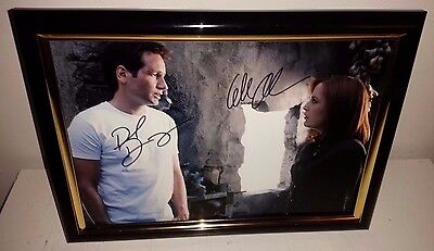 X-Files - Hand Signed By David Duchovny & Gillian Anderson With Coa Framed Photo