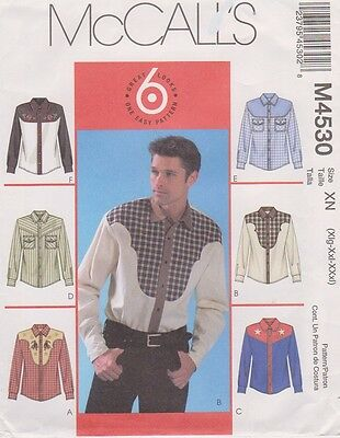 #4530 McCall's Sewing Pattern for 6 Styles Men's Western Shirts; Sz (XLG-XXXL)