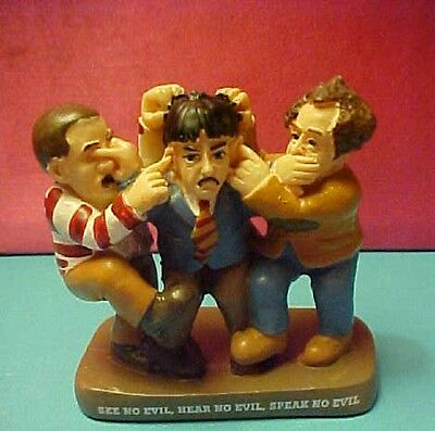 The 3 Stooges with their hands acting out: See no Hear No Speak No Evil figure