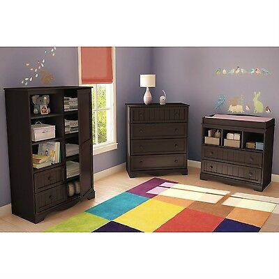 Espresso Wood Baby Diaper Changing Table With 2 Drawers