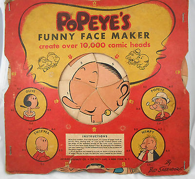 Old Vintage Antique POPEYE Paper Game FUNNY FACE MAKER Olive Wimpy Swee'Pea 1957