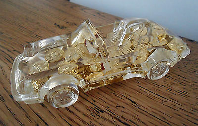 Porsche Paperweight Pen Holder - Acrylic with Floating Gold Coins