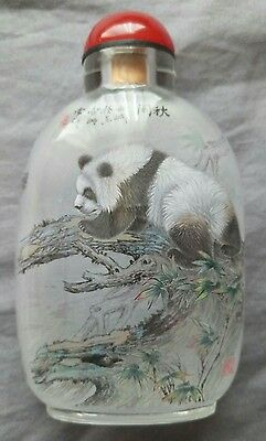 Inside Hand Painted Panda Chinese Snuff Bottle