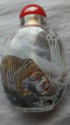 Inside Hand Painted Tiger Chinese Snuff Bottle