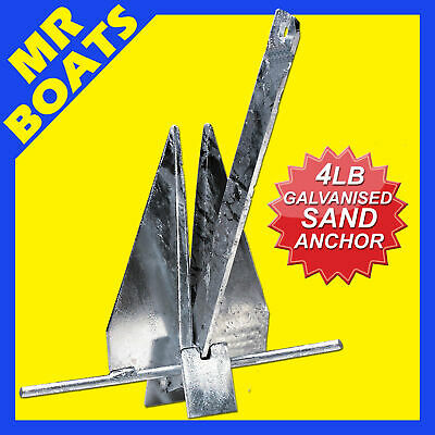 4LB (2KG) - SAND ANCHOR GALVANISED - Boat Fishing Boating Stows Flat FREE POST