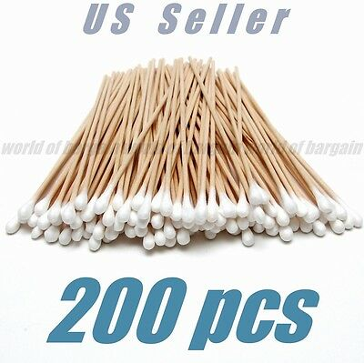 "200 Cotton Swab Buds Cosmetic Makeup Applicator 6""in Long Wood Handle Q Tips B31"