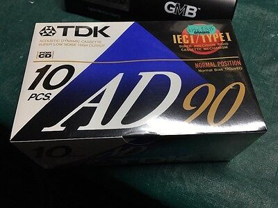 TDK AD90 IECI/TYPE I BLANK CASSETTE TAPES 10 Pack Brand New Sealed