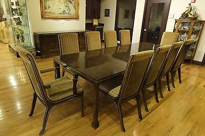 Antique Baker Burl Designer Dining Room Set;Table,10 Chairs,Buffett,2 China Cabs