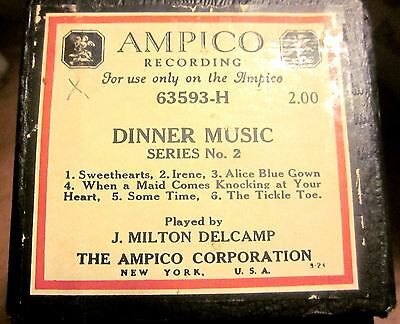 AMPICO Player Piano Roll #63593-H DINNER MUSIC No. 2 Played by J. Milton Delcamp