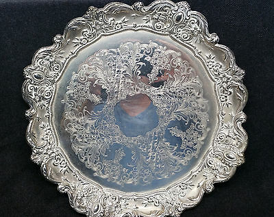 "Vintage VINERS Silver Plate Tray (Silverplate) Etched Floral 13-1/2"" Diameter"