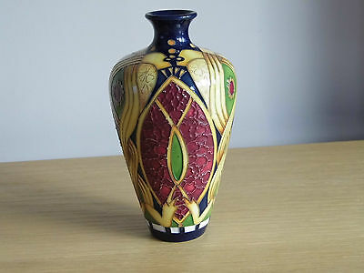 """Superb And Wonderfully Decorated Moorcroft Staffordshire Gold 6"""" Tall Vase. Mint"""
