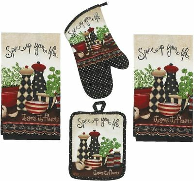 Kay Dee Designs Spice Up Your Life Set - 2 Terry Towels, Oven Mitt & Potholder