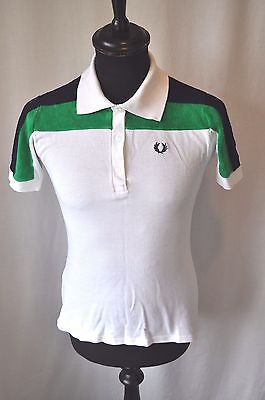 "Vintage RARE Fred Perry polo shirt towelling stripes size XS 36"" made Britain"