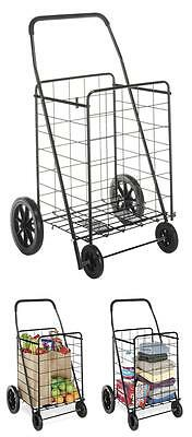 Folding Shopping Cart Grocery Laundry Basket With Wheels Steel Trolley Storage