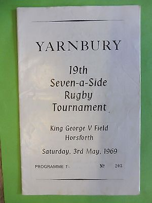Yarnbury, Horsforth Seven-a-side rugby union Tournament May 3rd 1969 Programme.