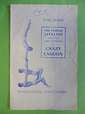 The Famous Javelins Stunt Divers & water ballet Scarborough 1950 Programme.
