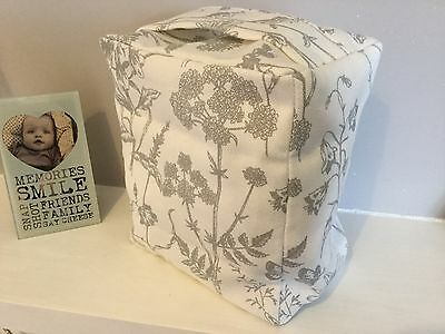 Hand Made Laura Ashley Lisette White Steel Floral Fabric Door Stop ..unfilled