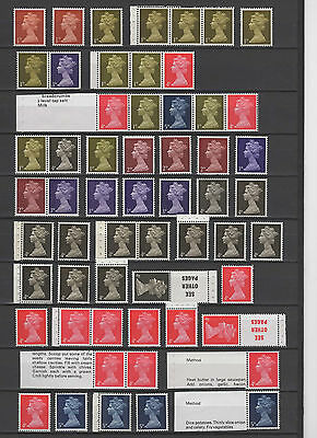 Specialised Pre-Decimal Machin Selection, 71 stamps, fine MNH