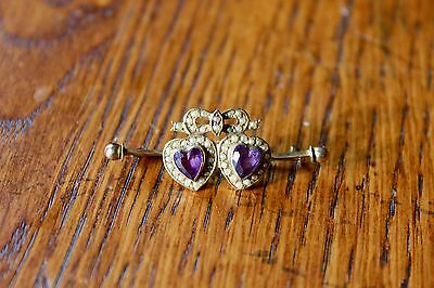Amethyst and seed pearl heart brooch