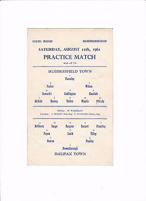 1961 HUDDERSFIELD TOWN v HALIFAX TOWN (PRACTICE MATCH) SINGLE CARD