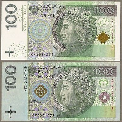 POLAND 2x100 ZLOTYCH BANKNOTES 1994/2012 SERIAL GF0291975/CF2584234 / LOOK SCANS